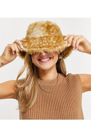 My Accessories Ženy Klobouky - London Exclusive bucket hat in bambi print fur-Brown