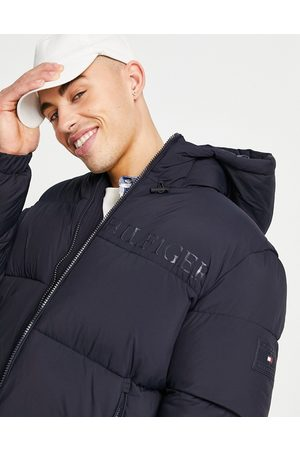 Tommy Hilfiger High loft hooded puffer jacket in navy