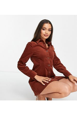 ASOS Petite cord fitted shirt dress in rust-Copper