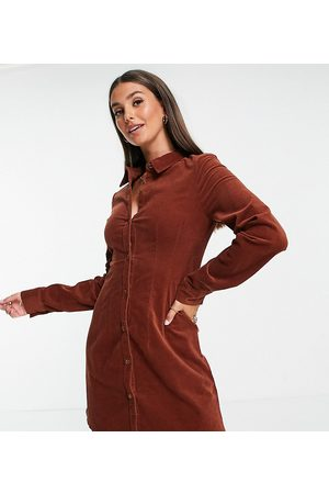 ASOS Tall cord fitted shirt dress in rust-Copper