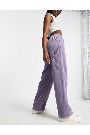 ASOS Pull on trouser with hammer loop in lilac cord-Purple