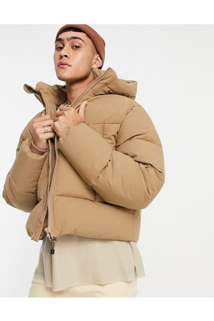 ASOS Puffer jacket with hood in camel-Neutral