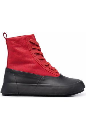 AMBUSH LEATHER MIX HI-TOP SNEAKER RED BLACK