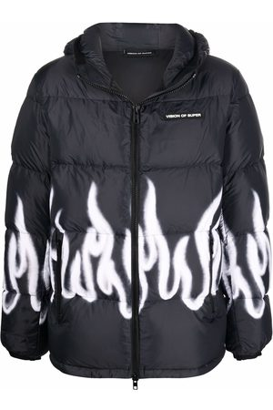 Vision Of Super Flame-print padded down jacket