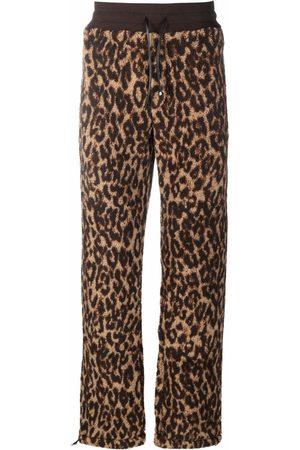 AMIRI Leopard-print drawstring fleece trousers