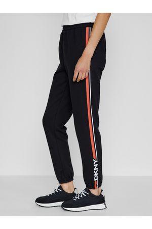 DKNY Černé dámské straight fit kalhoty s pruhy