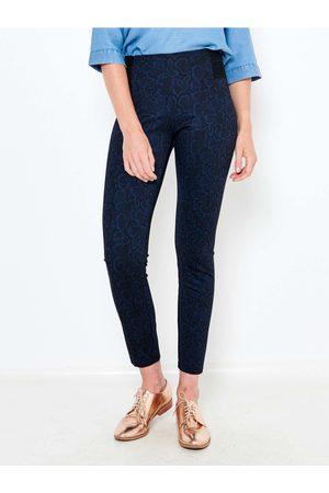 Camaïeu Tmavě modré vzorované skinny fit kalhoty