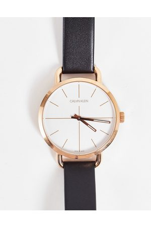 Calvin Klein Ženy Hodinky - Leather strap watch with gold detail