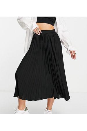 ASOS Petite pleated midi skirt in black