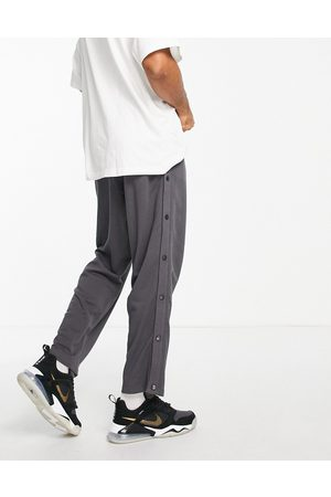 ASOS Oversized straight leg joggers with poppers in charcoal-Grey