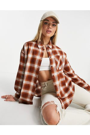 ASOS Long sleeve boyfriend shirt in brown and rust check-Multi