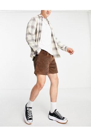 ASOS Wide fit shorts in dark brown cord