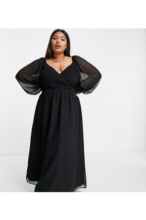 ASOS ASOS DESIGN Curve dobby shirred wrap maxi dress in black