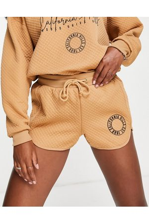 River Island California embroidered quilted runner shorts co-ord in brown