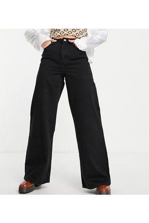 Bershka Ženy S vysokým pasem - 90's Petite super wide leg jean in black