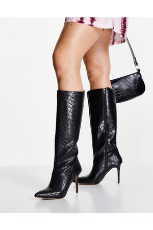 ASOS Claudia knee high boots in black weave