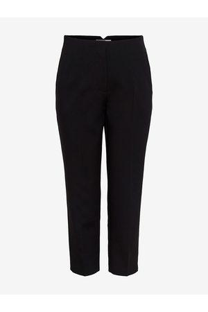 ONLY Černé zkrácené straight fit kalhoty Yasmine
