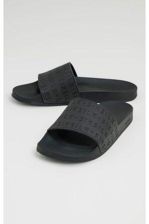 SikSilk Muži Pantofle - Černé pánské pantofle SLIDES SOLAR