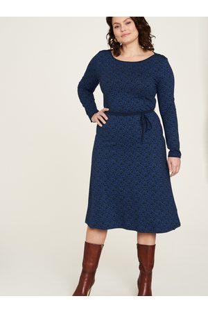 Tranquillo Ženy S potiskem - Tmavě modré vzorované šaty se zavazováním