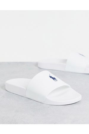 Polo Ralph Lauren Sliders in white with pony logo