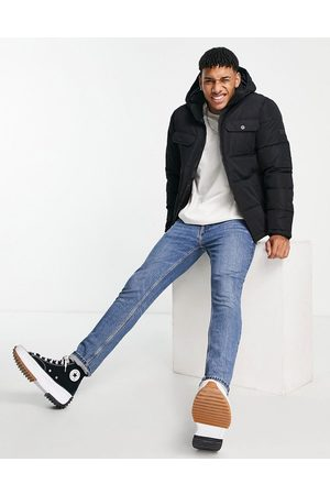 JACK & JONES Core hooded puffer jacket with chest pockets in black