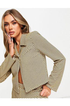 ASOS Jersey crop retro suit blazer in mustard geo-Multi