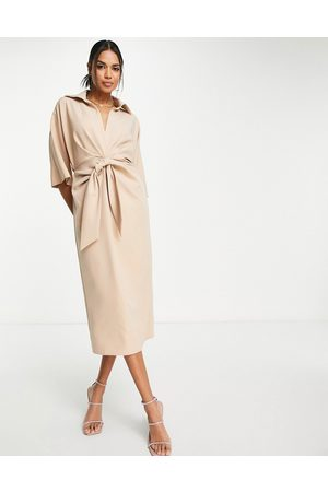 ASOS Collared wrap front batwing midi dress with knot in camel-Neutral