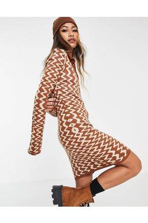 ASOS Knitted mini dress with button placket in wavy pattern-Brown