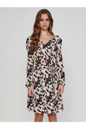 Ichi Černo-krémové dámské vzorované šaty