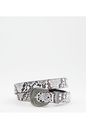 Glamorous Ženy Pásky - Exclusive waist and hip jeans belt in mono snake with silver western buckle-Multi