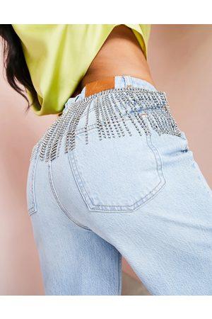 ASOS Ženy Široké nohavice - Wide leg jean with diamante trim in mid wash blue