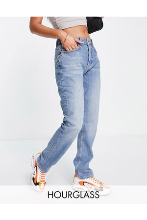 ASOS Hourglass mid rise comfort stretch straight leg jeans in lightwash-Blue