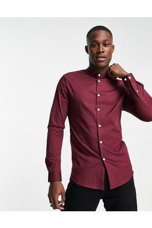 ASOS Skinny fit shirt with grandad collar in burgundy-Red