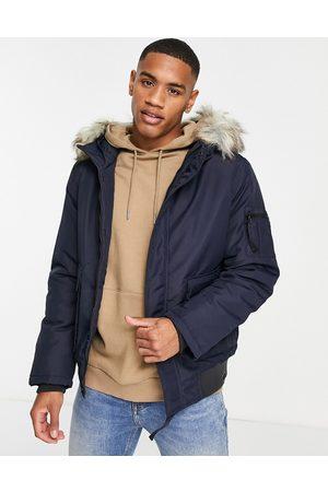 Only & Sons Muži Péřové bundy - Padded short coat with faux fur hood in navy