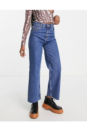ONLY Dad wide straight leg jeans in mid wash blue