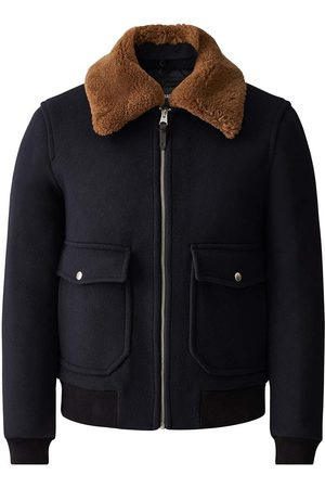Mackage Theo Wool Bomber Jacket with Shearling Collar in Navy