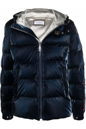 Philipp Plein High-shine logo-print hooded puffer jacket