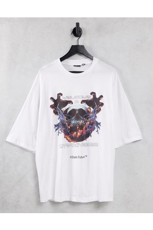 ASOS Oversized t-shirt with front skull graphic print in white
