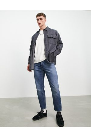 ASOS Muži Džínové košile - Oversized denim shirt in vintage washed black-Grey