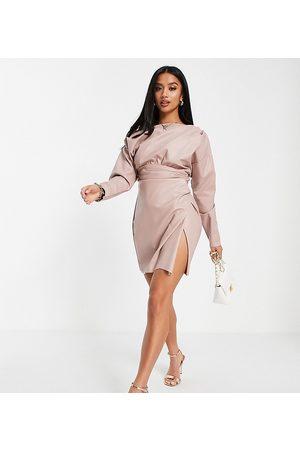 ASOS ASOS DESIGN Petite PU off shoulder mini dress with tuck detail bodice in blush-Pink