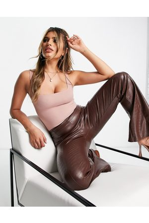 Flounce London Basic square neck body in light brown