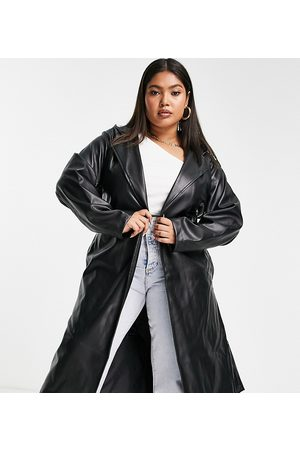 Threadbare Curve Threadbare Plus Acorn PU belted trench coat with hood in black