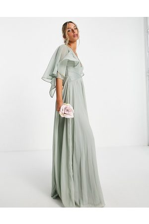 ASOS Ženy Maxi - Bridesmaid ruched bodice drape maxi dress with wrap waist in olive-Green