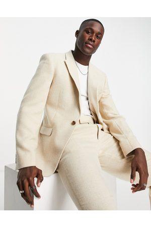 ASOS Skinny suit jacket in wool mix herringbone in stone-Neutral