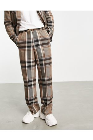 ASOS Wide leg suit trousers with elastic waist in black check