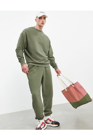 ASOS Co-ord oversized joggers with rib in khaki-Green