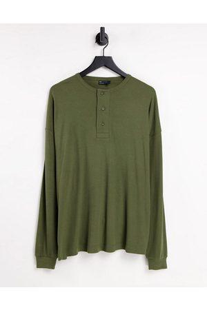 ASOS Oversized long sleeve t-shirt in rib in khaki-Green