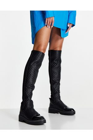 River Island Quilted over the knee flat gusset boot in black