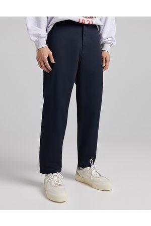 Bershka Wide leg trousers in navy-Blue