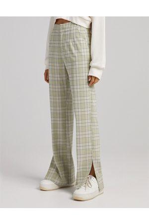 Bershka Straight leg trousers in green check